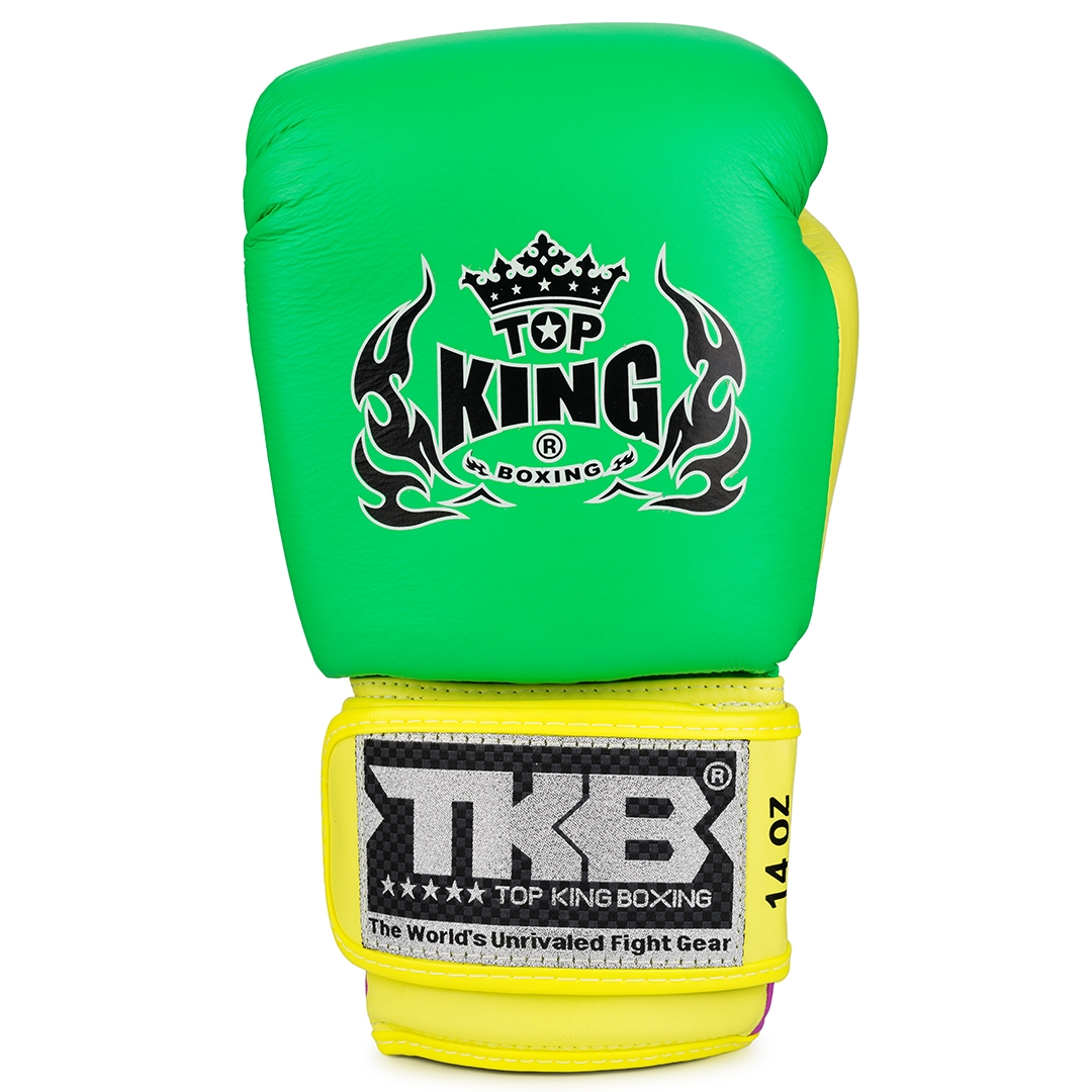Top King Boxing Gloves Double Lock green yellow purple