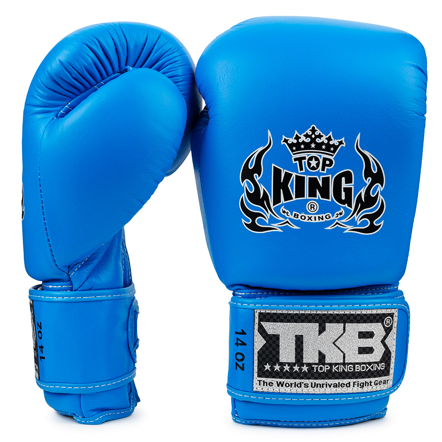 Top King Boxing Gloves Blue Double Lock