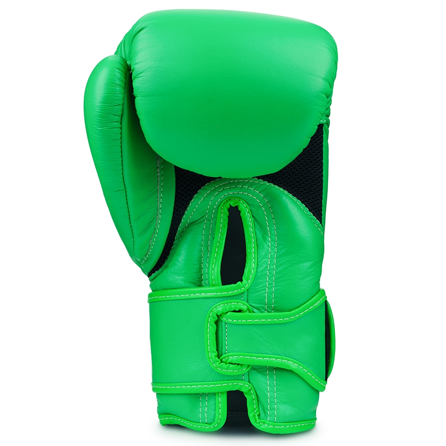 Top King Boxing Gloves Double Lock Green