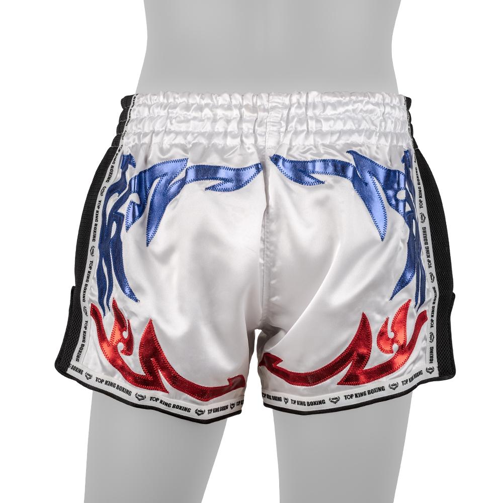 top king muay thai shorts retro white blue red