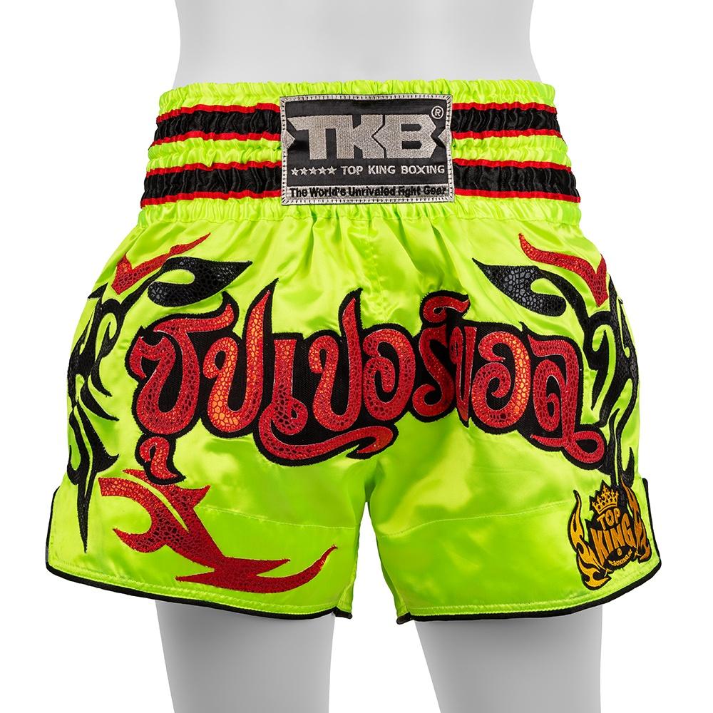 top king muay thai shorts traditional neon green