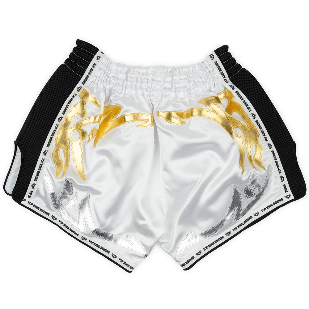 top king muay thai shorts retro white gold