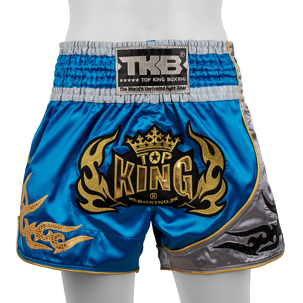 top king muay thai shorts traditional sky blue