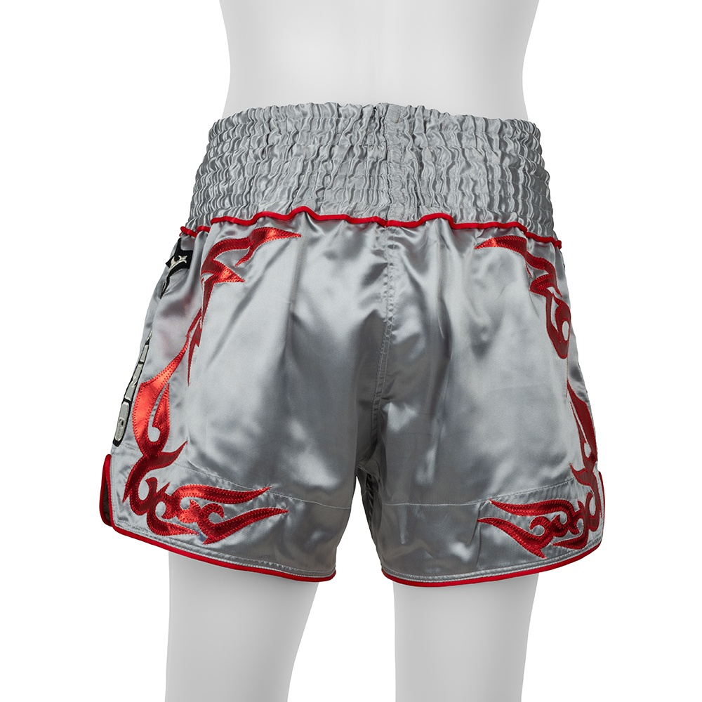 top king muay thai shorts traditional grey red
