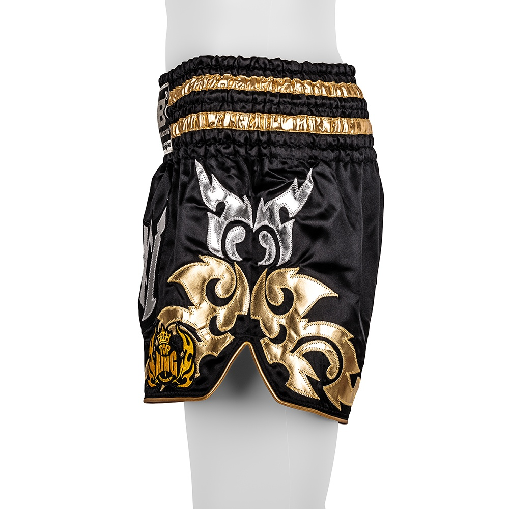 top king muay thai shorts traditional silver gold