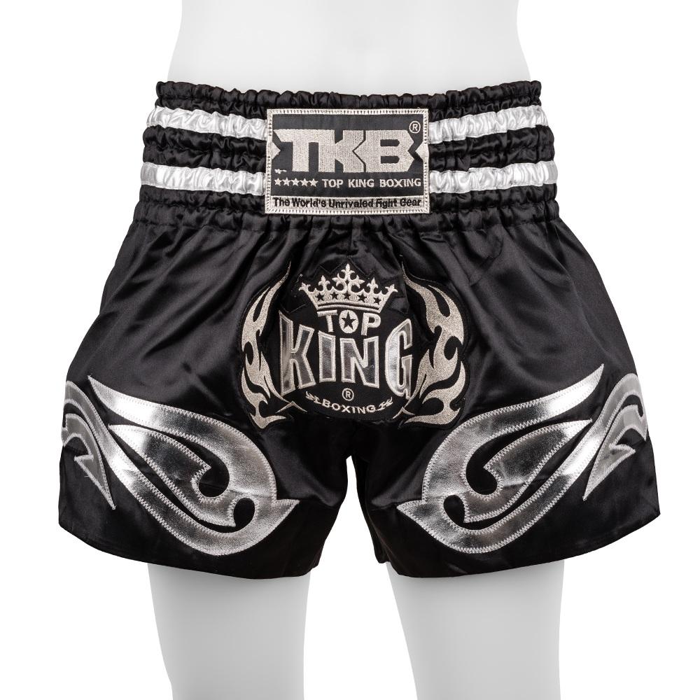 top king muay thai shorts traditional black silver
