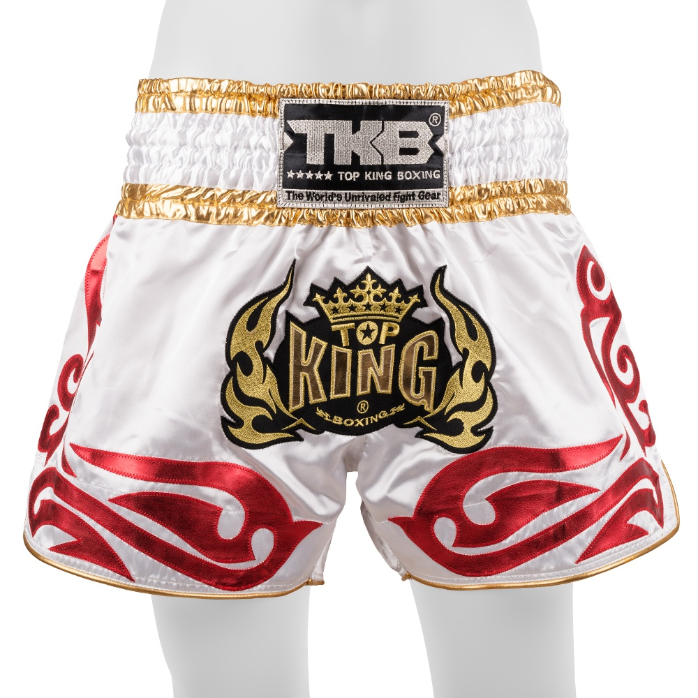 top king muay thai shorts traditional white red gold