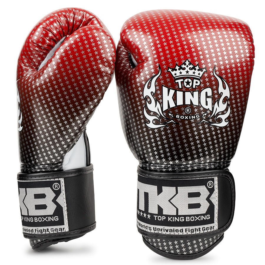 top king kids boxing gloves super star red black