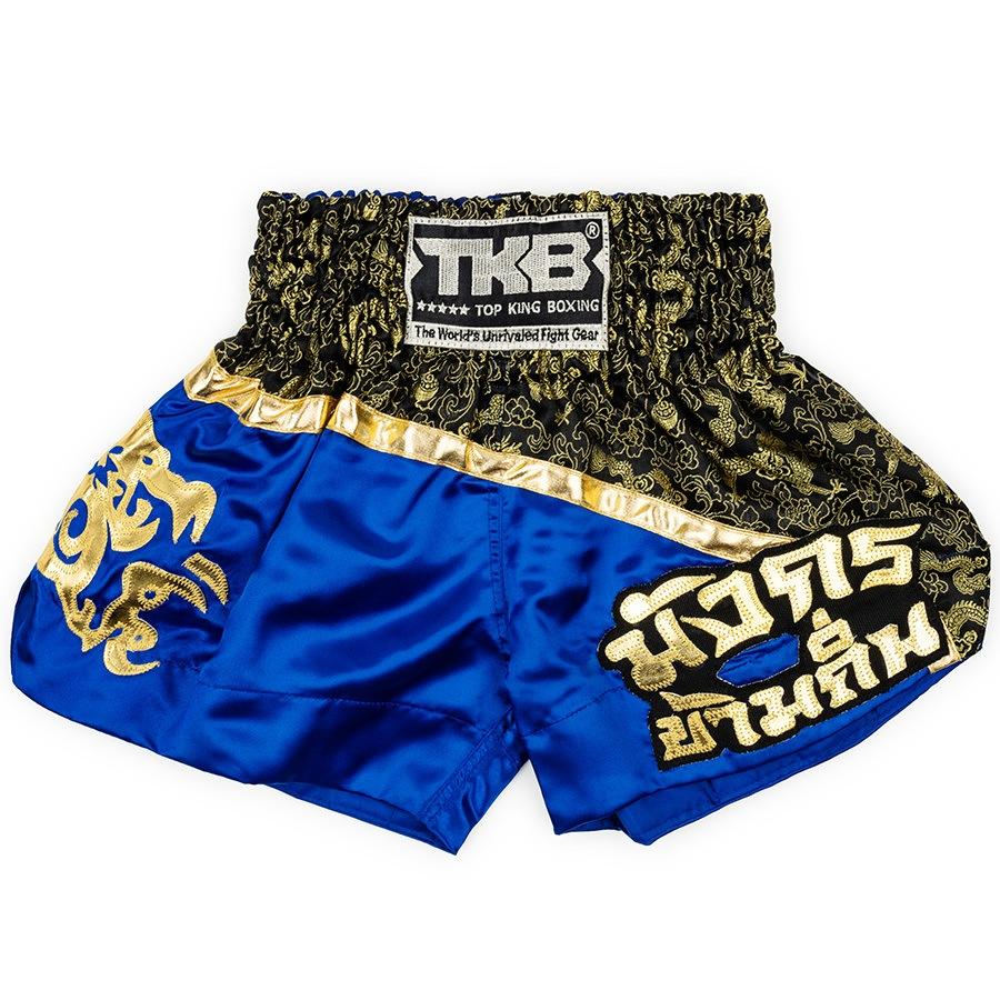 top king kids muay thai shorts blue black