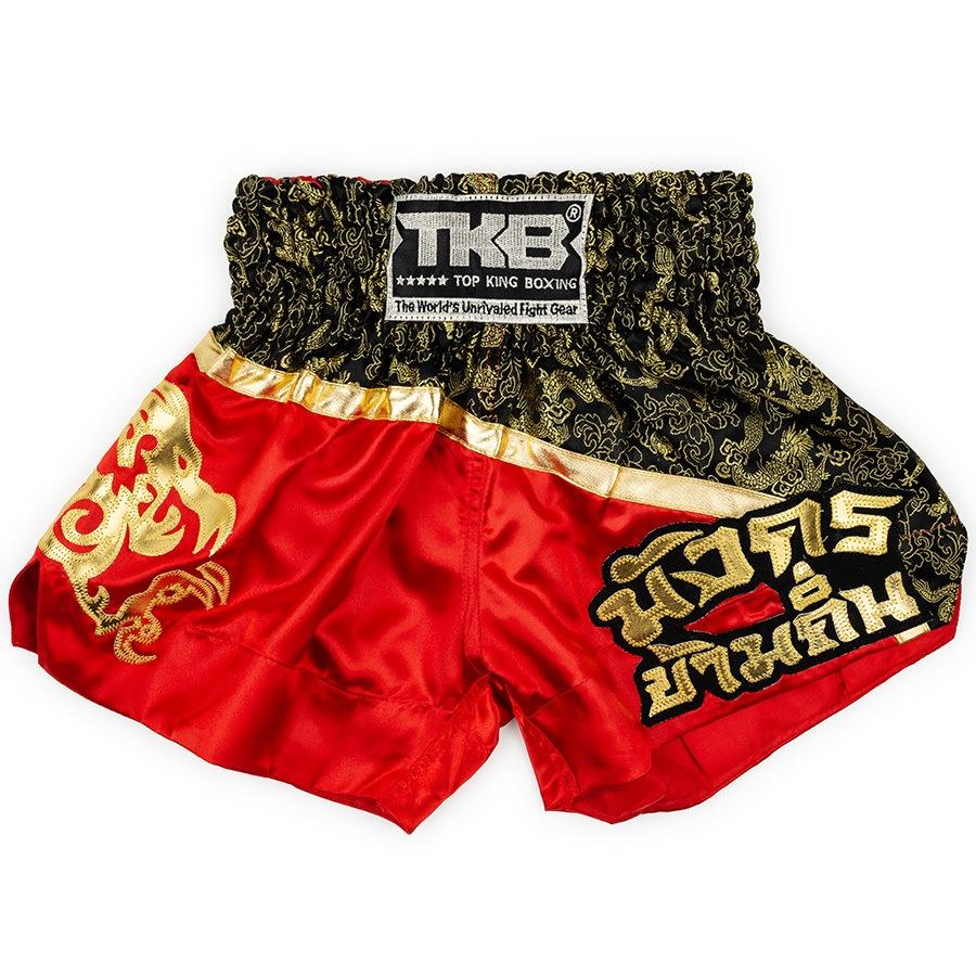 top king kids muay thai shorts red black
