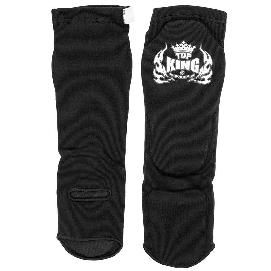 top king muay thai shin guards elastic cotton comp black