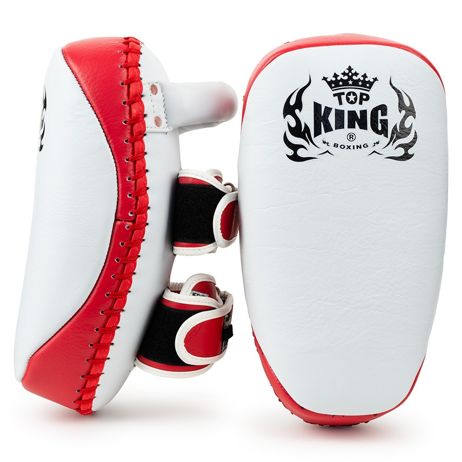 top king thai kick pads ultimate white red