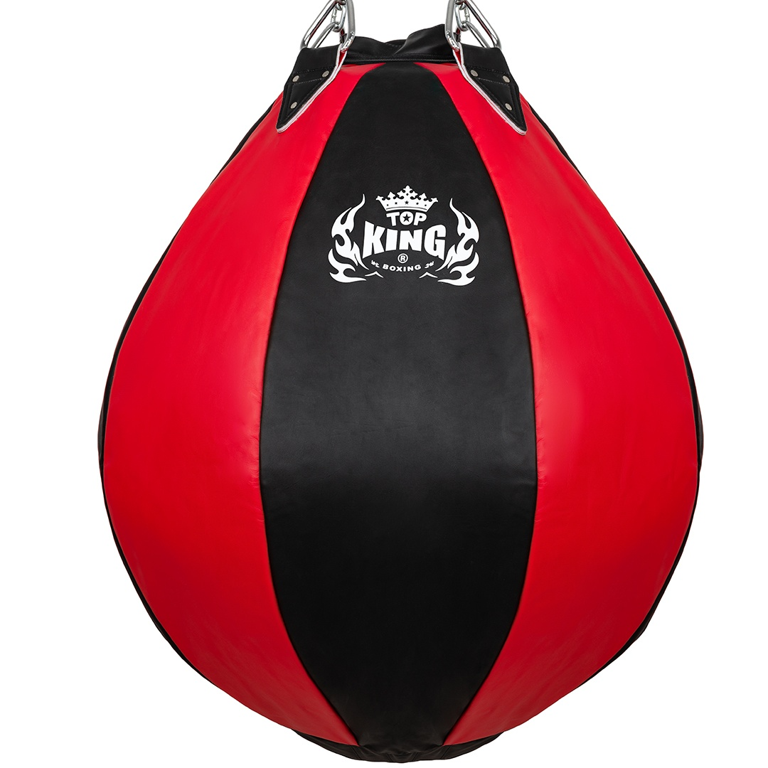 top king heavy tear drop punch bag black red unfilled