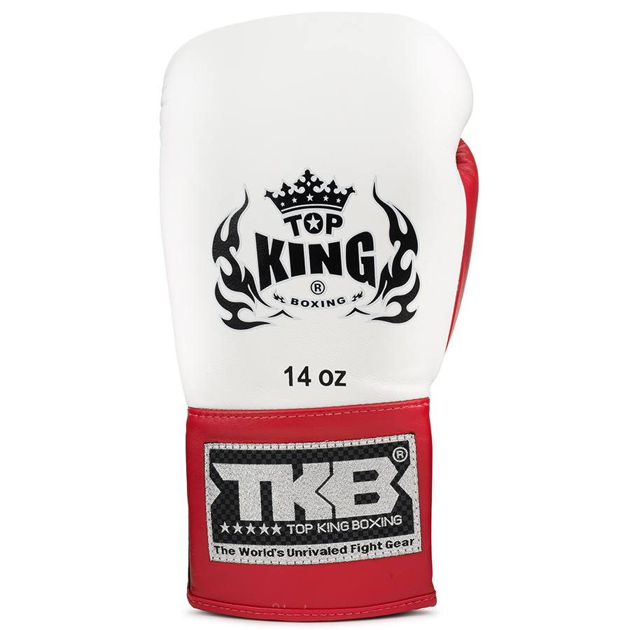 top king laced boxing gloves pro series white red black