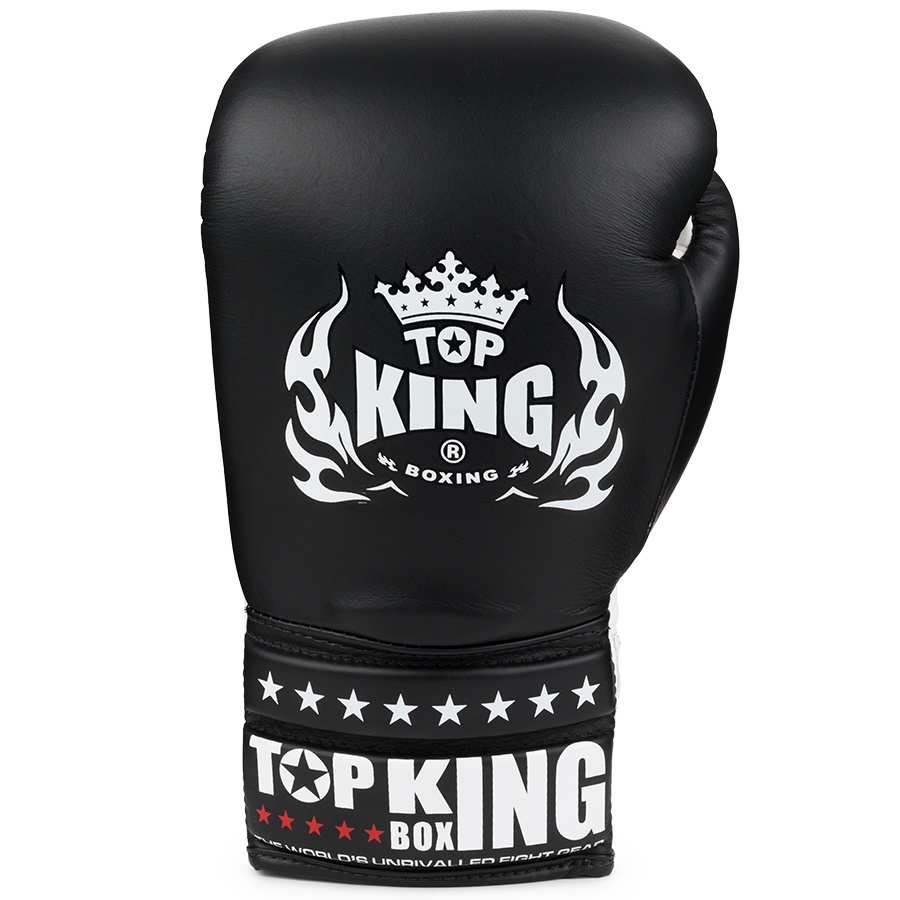 top king laced boxing gloves super comp black white