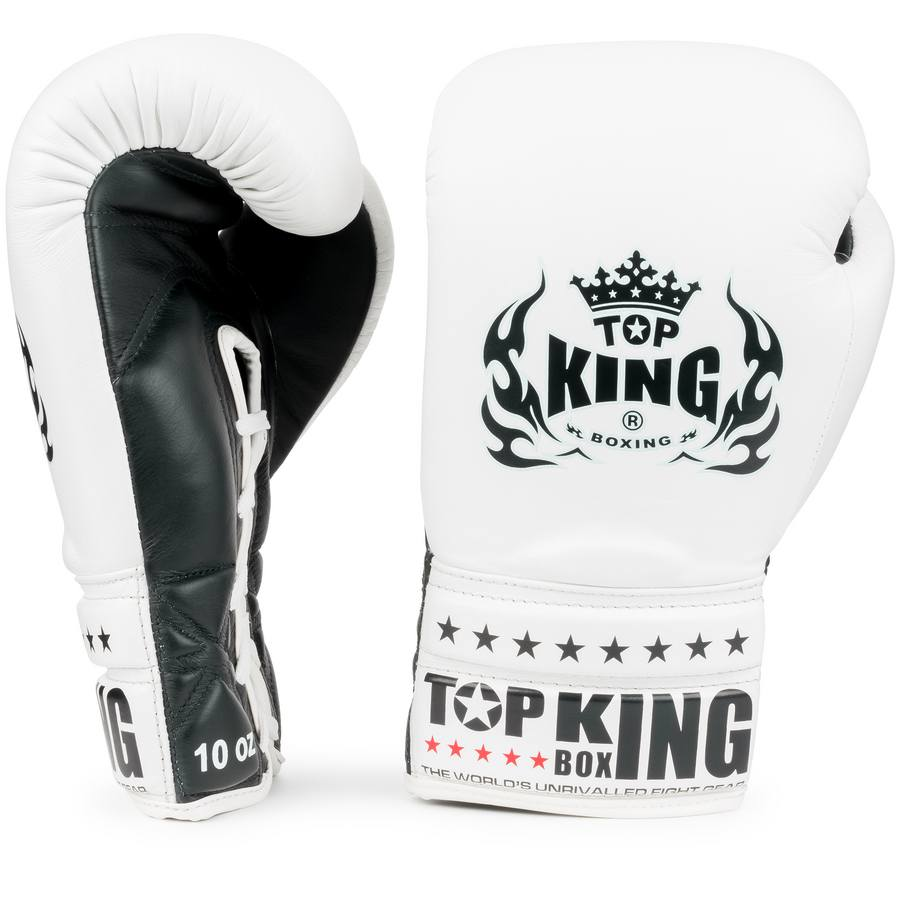 top king laced boxing gloves super comp white black