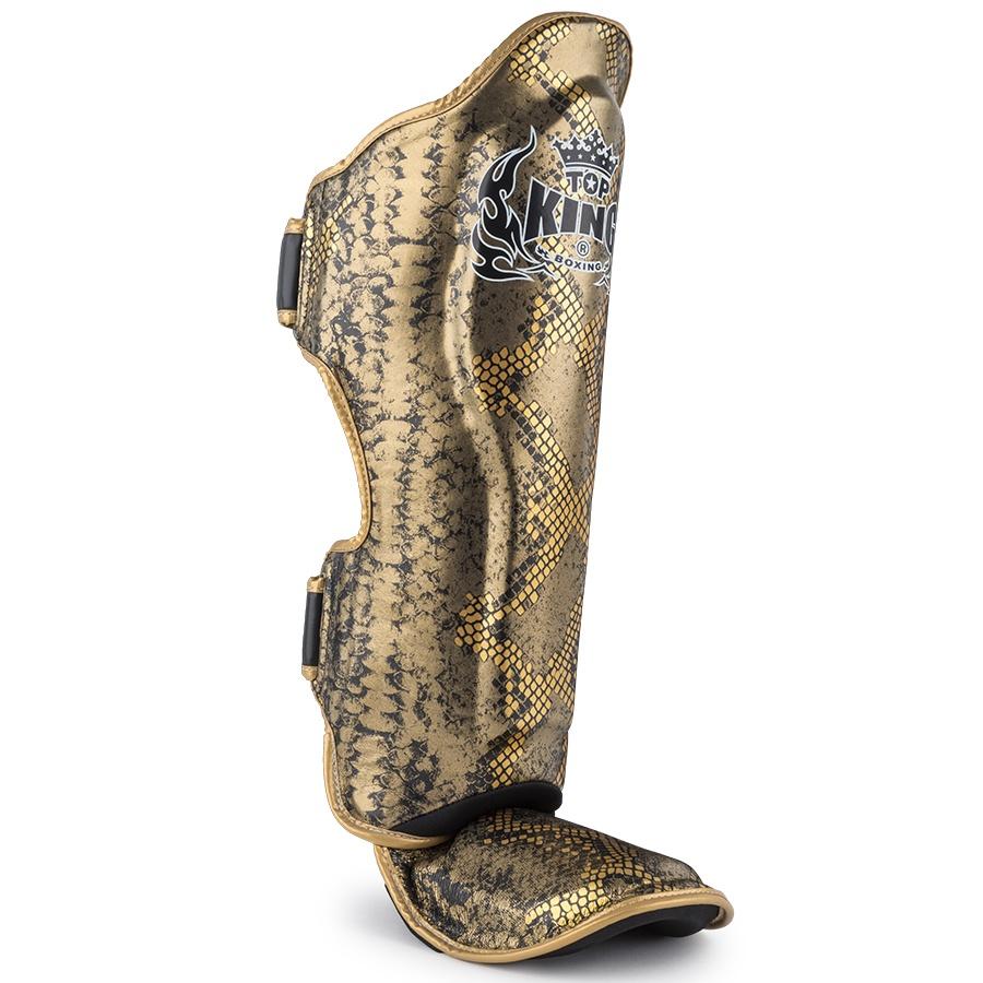 top king muay thai shin guards snake skin gold black