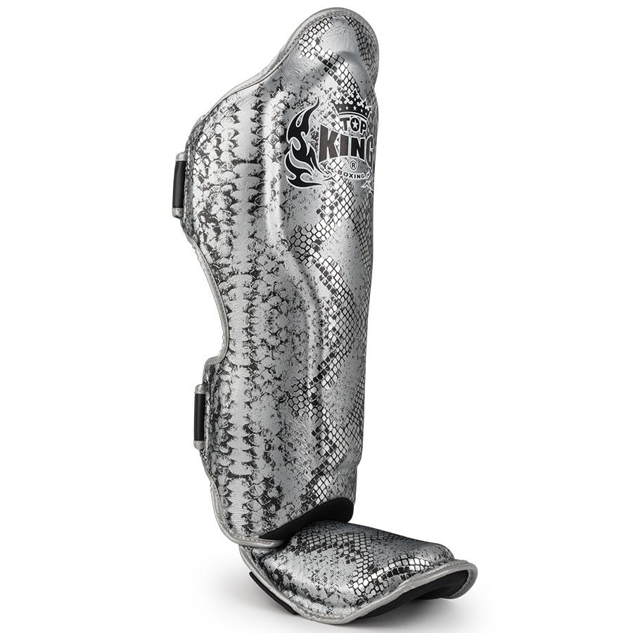 top king muay thai shin guards snake skin silver black