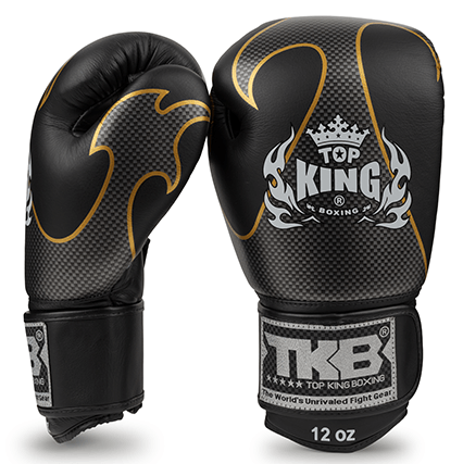 top king boxing gloves empower black and silver